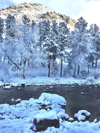 Early morning: Webster Mountain, across the river, covered with snow from the November Witch Storm