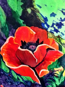 A painting of a Sunnyside poppy by Patty Jackson.